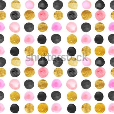 Fototapeta wzór złote i różowe kropki. ręcznie rysowane akwarela