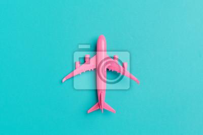 Fototapeta Wzorcowy samolot, samolot na pastelowego koloru tle.