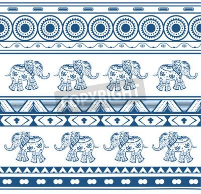 Fototapeta Wzory geometryczne ze słoniami w stylu etnicznym