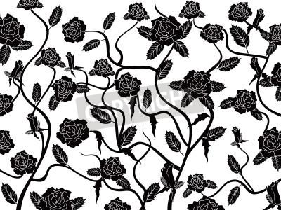 Fototapeta wzrosła bezszwowe tło wzór w kolorze czarnym