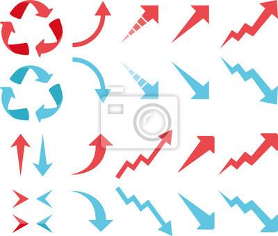 Fototapeta アップ ダウン の 赤 と 青 の 矢印