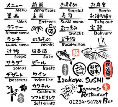 Fototapeta 和食 の メニュー (英語 と 日本語)