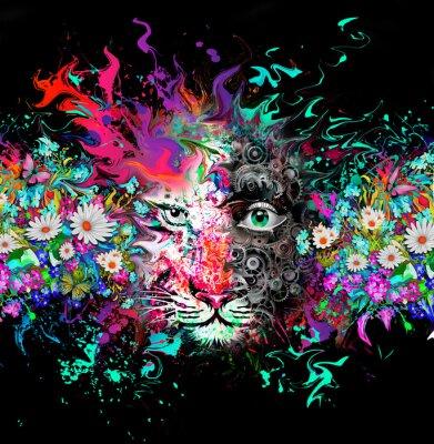 Fototapeta яркий абстрактный фон с тигром