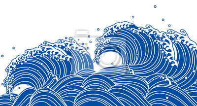 Fototapeta 和風 の 青 い 波