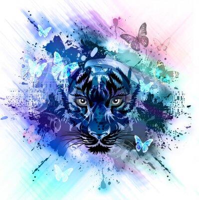 Fototapeta тигр на ярком фоне