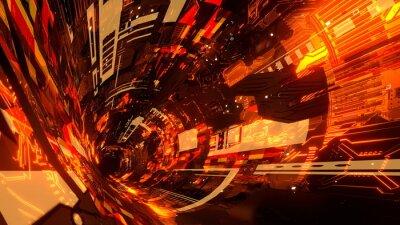 Fototapeta サイバー空間 トンネル 機械 宇宙 Sci-fi オレンジ [別Verあり]