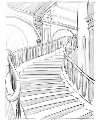 Fototapeta архитектурный рисунок лестницы