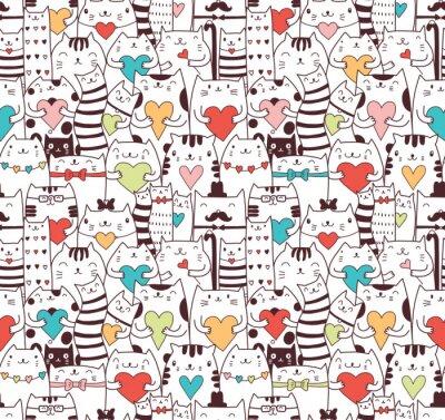 Fototapeta Сats with hearts seamless pattern