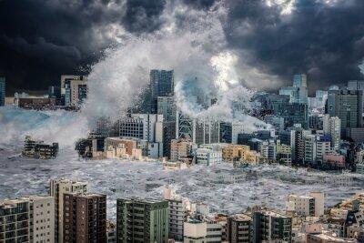 Fototapeta 東京に打ち寄せる大津波