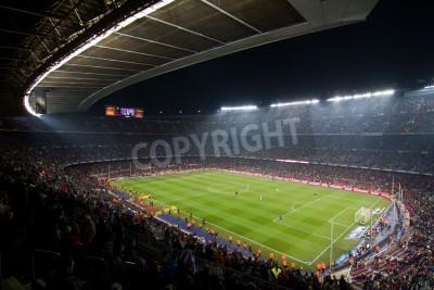 Fototapeta BARCELONA, Hiszpania - 13 grudnia 2010: Panoramiczny widok na Camp Nou, stadionu drużyny Football Club Barcelona, przed meczem FC Barcelona - Real Sociedad, końcowy wynik 5 - 0.