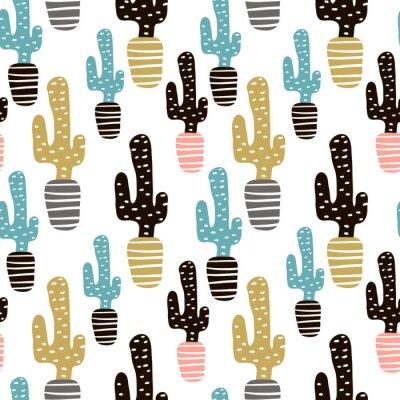 Fototapeta Bez szwu deseń z kaktusów i ręcznie narysowanych tekstur. Doskonały do tkanin, tekstylnych. Kreatywne tło wektor