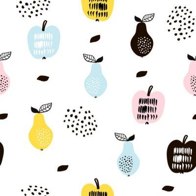 Fototapeta Bez szwu deseń z kreatywnych owoców. R? Cznie rysowane modne t? O. Doskonały do tkanin i tekstyliów. Ilustracja wektora