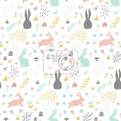 Dziecinna wzór z bunny, ręcznie rysowane kształty, lasu i kwiatowy elementy. Doskonały do tkanin, tkanin, papieru do pakowania. Skandynawski styl.