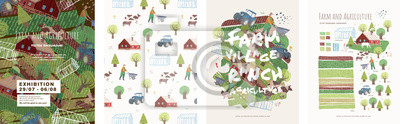 Fototapeta Farm and agriculture. Vector cute illustrations of village life and objects for a poster, banner or postcard, freehand drawings of people, animals, trees, traсtor and house for background and pattern
