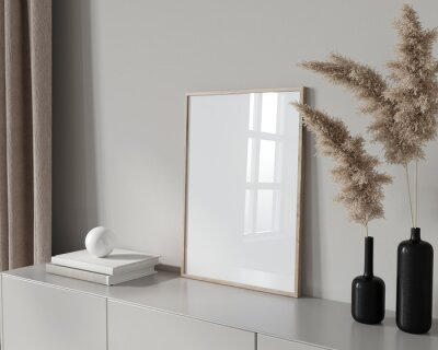 Fototapeta Frame mockup interior in beige colors with side view and glas…