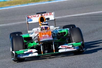 Fototapeta Jerez de la Frontera, Hiszpania - 10 lutego: Nico Hülkenberg z Force India F1 wyścigi na sesji szkoleniowej w dniu 10 lutego 2012 w Jerez de la Frontera, Hiszpania