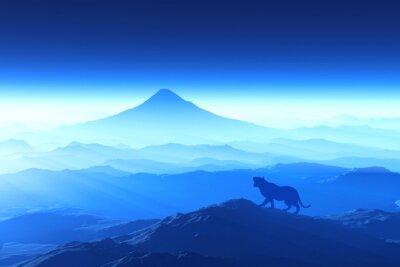 Fototapeta 富士山の日の出と虎