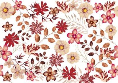 Fototapeta 水彩風 シームレスな花の背景