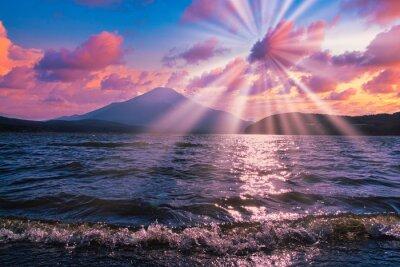 Fototapeta 富士山にかかる夕焼け雲