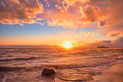 Fototapeta 神奈川県・江の島海岸の夕陽