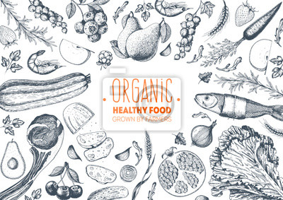 Fototapeta Zdrowego stylu żywnoÅ> ci ramki ilustracji wektorowych. Warzywa, owoce, wyciągnąć rękę mięsa. Zestaw żywności ekologicznej