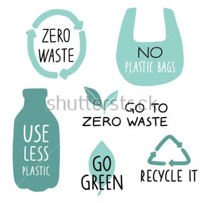 """Fototapeta Zestaw elementów ilustracja Eco i odręcznych listów. Przetwarzaj go, używaj mniej plastiku, zaziel. Hasło """"zero odpadów"""", typografia. Ilustracji wektorowych."""