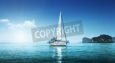 Fototapeta yacht and blue water ocean