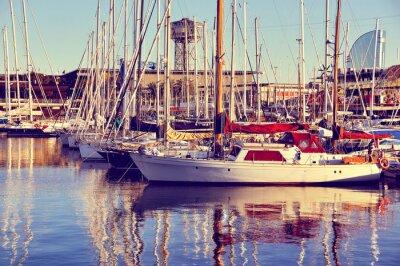 Fototapeta Yachts at the Port (Retro style)