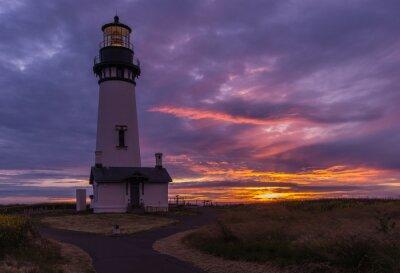 Fototapeta Yaquina lighthouse at sunset