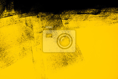 Fototapeta yellow and black paint  background texture with brush strokes