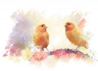 Fototapeta Yellow Birds Watercolor
