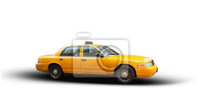 Fototapeta Yellow cab isolated on white background.