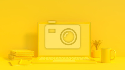 Fototapeta Yellow laptop mock-up for your text and background.