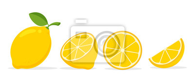 Fototapeta Yellow lemon vector. Lemon is a fruit that is sour and has high vitamin C. Helps to feel fresh.