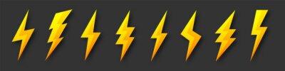 Fototapeta Yellow lightning bolt icons collection. Flash symbol, thunderbolt. Simple lightning strike sign. Vector illustration.