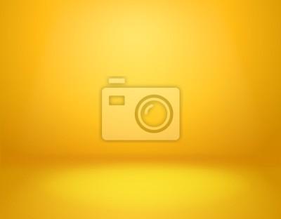 Fototapeta Yellow studio background. Empty vivid yellow studio room, modern workshop interior in perspective. Website wallpaper vector mockup