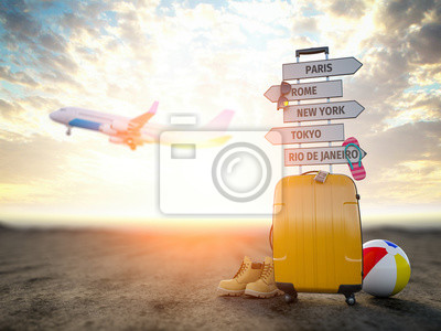 Fototapeta Yellow suitcase and signpost with travel destination, airplane.Tourism and  travel concept background.