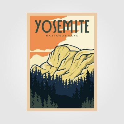 Fototapeta yosemite national park vintage poster outdoor vector illustration design