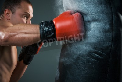 Fototapeta Young boxer in red gloves boxing over black background