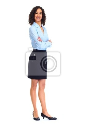 Fototapeta Young business woman isolated white.