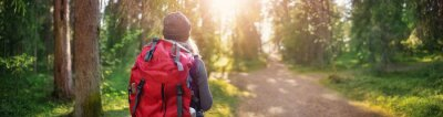Fototapeta Young woman hiking and going camping in nature