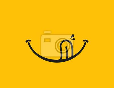 Fototapeta Yummy smile. Delicious, tasty eating emoji face eat with mouth and tongue gourmet enjoying taste