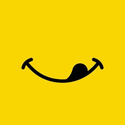 Fototapeta Yummy smile emoticon lick mouth lips on yellow background. Yummy emoji tasty or hungry smile. Vector illustration.