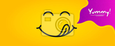 Fototapeta Yummy smile emoticon with tongue lick mouth. Tasty food eating emoji face. Delicious cartoon with saliva drops on yellow background. Smile face line design. Savory gourmet. Yummy vector