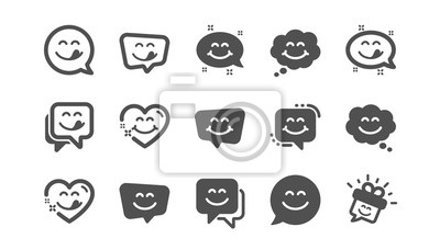 Fototapeta Yummy smile icons. Emoticon speech bubble, social media message, smile with tongue. Tasty food eating emoji face icons. Delicious yummy, happy emoticon. Classic set. Quality set. Vector