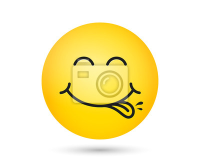 Fototapeta Yummy smiley emoticon with tongue lick mouth. Tasty food eating emoji face. Delicious cartoon with saliva drops on yellow background. Smiley face line design. Savory gourmet. Yummy vector