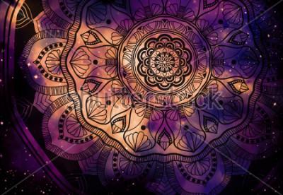 Fototapeta Z gwiazdami polem i kolorowy galaxy tło, akwareli sztuki cyfrowy obraz i mandala graficzny projekt