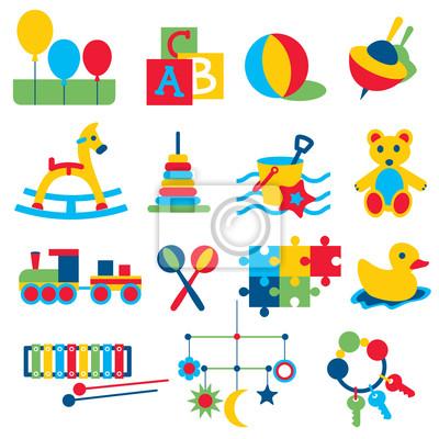 Zabawki dla dzieci kolorowe ikony