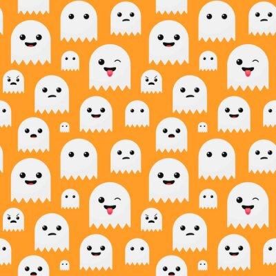 Fototapeta Zabawna cute pomarańczowy Halloween ducha bezszwowe tło wektor wzór
