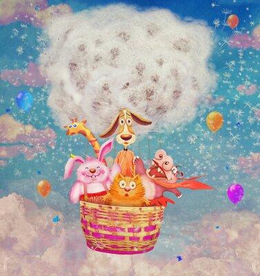 Fototapeta Zabawna przyjaznych zwierząt w powietrzu balon na niebie - ilustracja sztuki